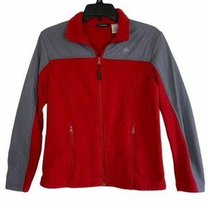 Snozu Womens Fleece Jacket Red & Gray Size Small